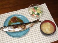 6/9 夕食 にしんの三五八漬け、ゆで玉子とブロッコリーのサラダ、キャベツと揚げの味噌汁