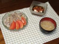 6/23 夕食 ゆで豚のサラダ、キムチもずく酢かけ冷奴、もやしと揚げの味噌汁
