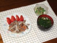 6/24 夕食 砂肝の塩にんにく炒め、アスパラのわさびマヨ和え、ニラ玉味噌汁
