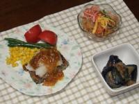 6/26 豆腐ひじきハンバーグおろしなめたけ、春雨サラダ、ナスの揚げ浸し