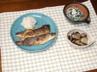 7/12 夕食 ほっけ、ナスのガーリック炒め、ほうれん草の白和え