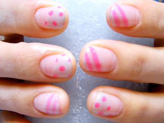 ピンク水縞