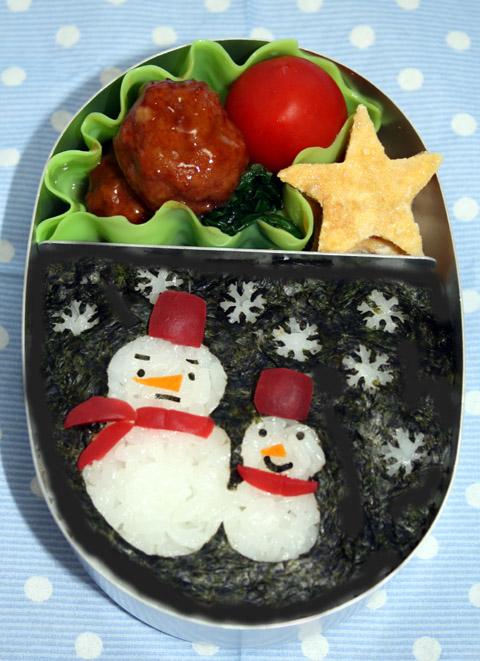 雪だるま親子弁当