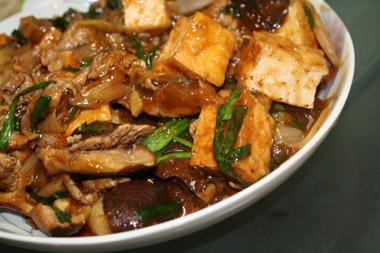 厚揚げと椎茸の辛味煮
