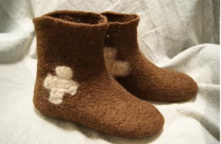 羊毛フェルト室内履き