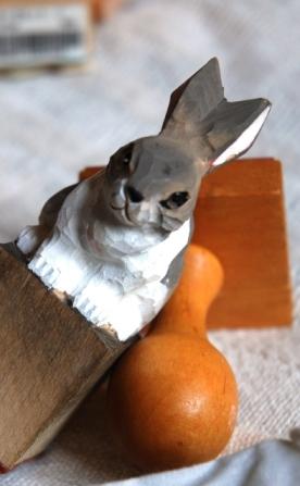 木彫りうさスタンプ②