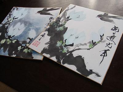201104 水墨画 木蓮と燕