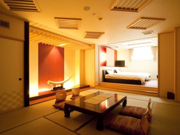 ベッド付き和洋室の露天風呂付き客室