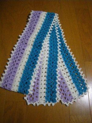 シャインメリノマフラー 青紫(170センチ)