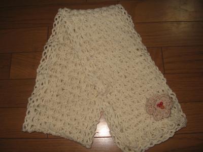 透かし編みウールマフラー