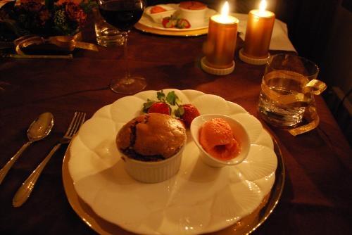 チョコスフレと苺アイス