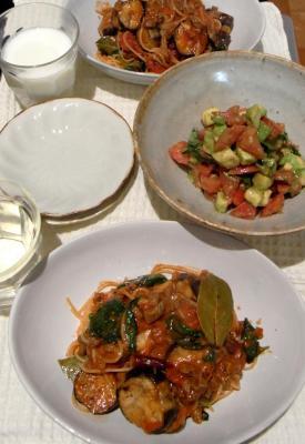 牛肉と茄子とトマトのパスタ 2009.10.8