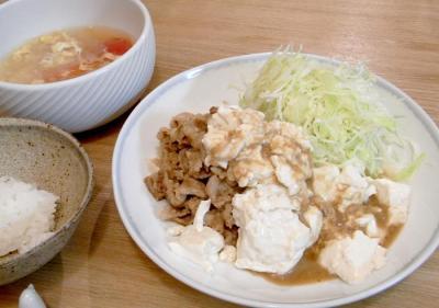湯豆腐のせの味噌味生姜焼き 2009.10.19