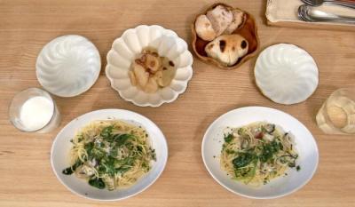 牡蠣とほうれん草のパスタ 2009.10.20