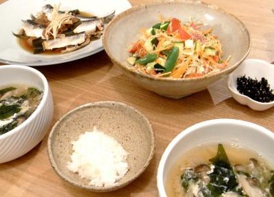 イワシとたっぷり野菜とごはんとお味噌汁。2009.10.23