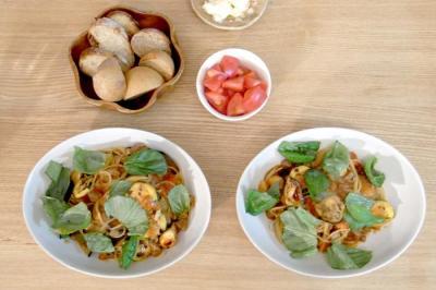 焼き野菜と牛肉のトマト煮パスタ 2009.10.23