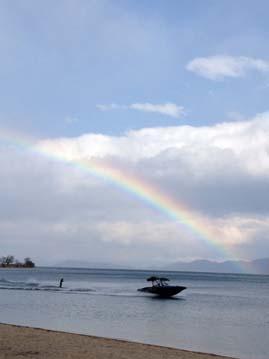 散歩中に虹