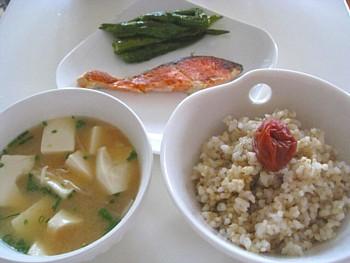 シャケの玄米定食