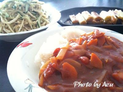 トマトカレー・切干大根の中華サラダ・長ネギのマリネ