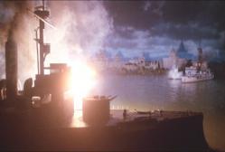 上海の港で攻撃している日本の戦艦