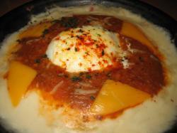 半熟卵とチーズのボロネーゼドリア