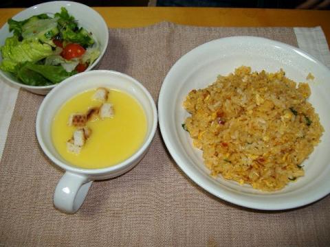 チキンライス&コーンポタージュスープ