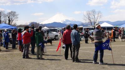 富士山をバックに見物