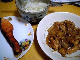 料理 2010年2月4日 焼き鮭と鶏肉(焼き鳥風)