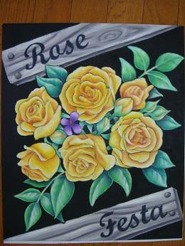 チョークアートのバラ