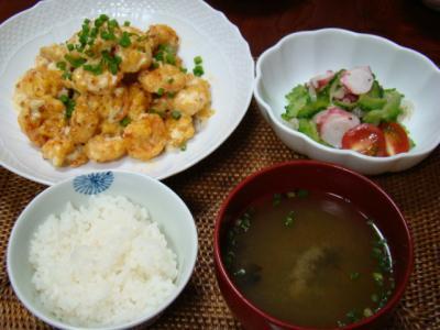 海老マヨチリ定食