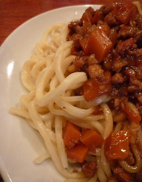 『田村屋』 肉あんつけ麺(麺アップ)