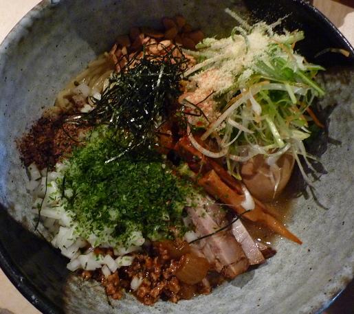『麺喰屋 澤』 和えそば もんじゃセット(和えそばアップ)