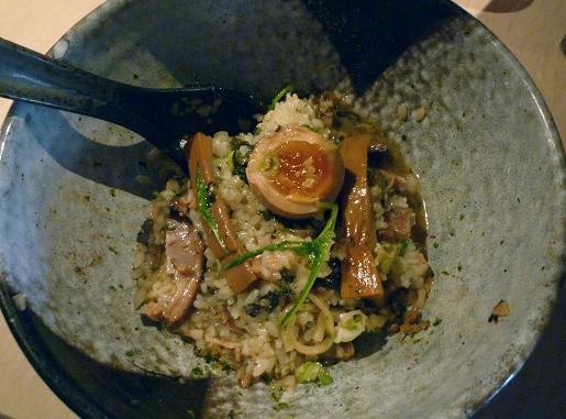 『麺喰屋 澤』 和えそば もんじゃセット(明太高菜ご飯を混ぜた後)