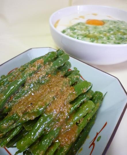 【家飯】三度豆の胡麻和えと、オクラ豆腐蕎麦