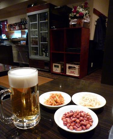 『和龍園』 ビールとお通し