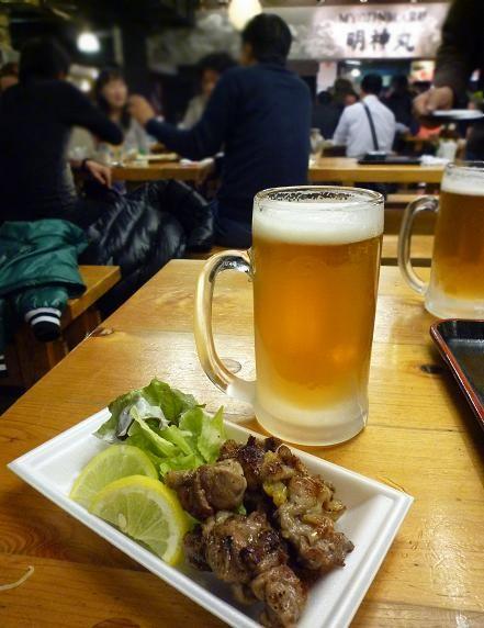 『ひろめ市場』 親鳥塩焼きと生ビール