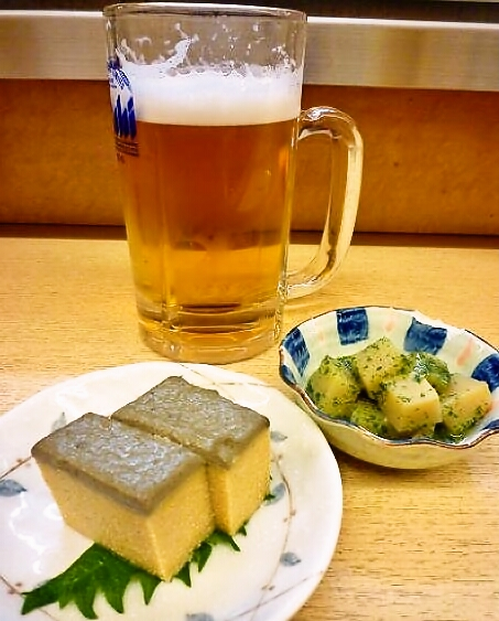 『正宗屋 相合橋』 生ビール+カステラ+木の芽和え
