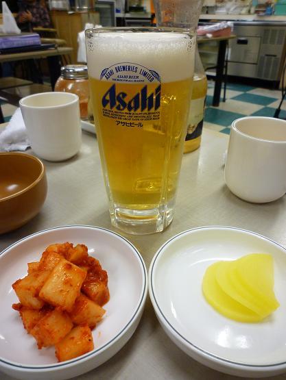 『韓うどん』 生ビールとミッパンチャン