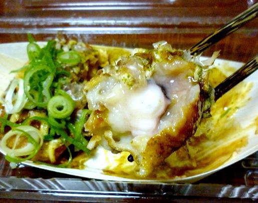 『たこ焼き 三よ志(みよし)』 たこ焼(6個・辛ソース+一味マヨネーズ)断面図