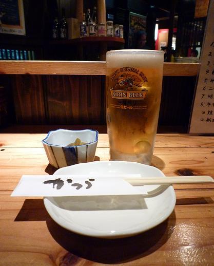 『やき鳥かつら』 ビールとお通し
