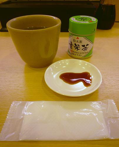 『かっぱ寿司 葛飾立石店』 紙お手拭・醤油小皿・湯呑・粉茶の素