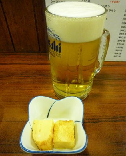 『石松』 生ビール(590円)とお通し