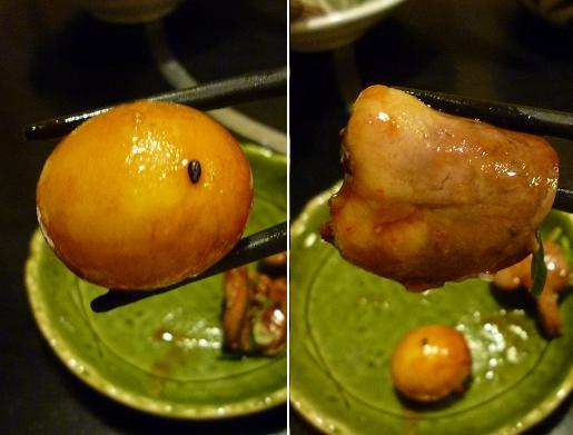 『尾張名古屋の台所 山 本店』 三河鶏 伍もつ煮(キンカン・ハツのアップ)