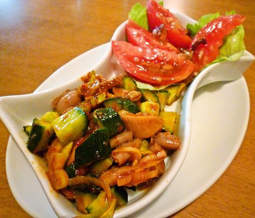 『中華料理 龍鳳軒』 トマトサラダと子袋のピリ辛和え