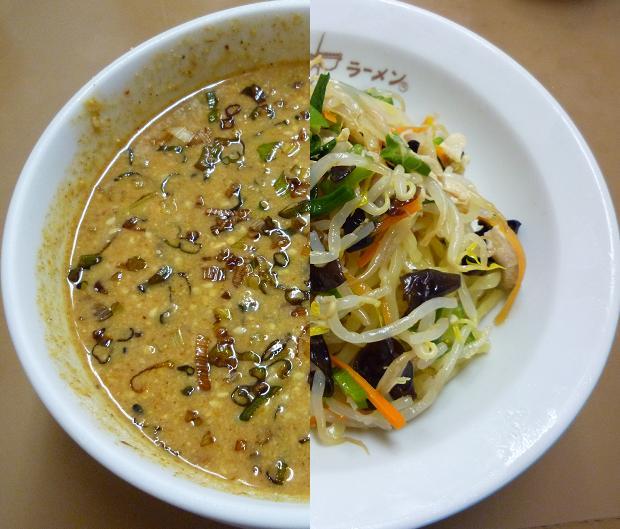 『どさん子ラーメン 亀有南口店』 冷やしのっけ盛り麺(2010年8月限定、つけ汁:左、麺:右)