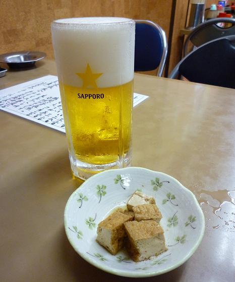 『どさん子ラーメン 亀有南口店』 生ビール(520円)+お通し(サービス)
