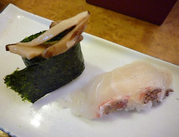『奴寿司』 松茸と鯛(「おまかせ」の六皿め)