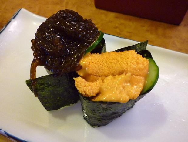 『奴寿司』 生モズクと雲丹(「おまかせ」の二皿め)