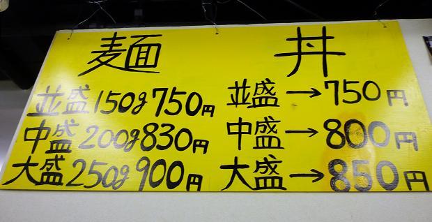 『神田スタミナラーメン』 メニュー(※2010年10月7日撮影)