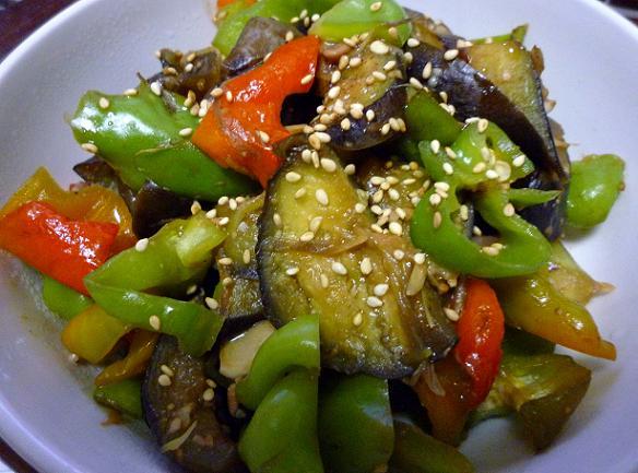 茄子とカグラナンバンと茗荷の味噌炒め(2010年秋)